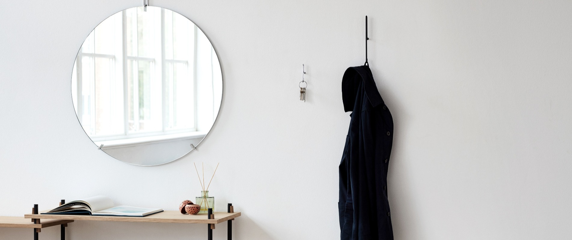 Scandinavian Wall Mirror and Hooks