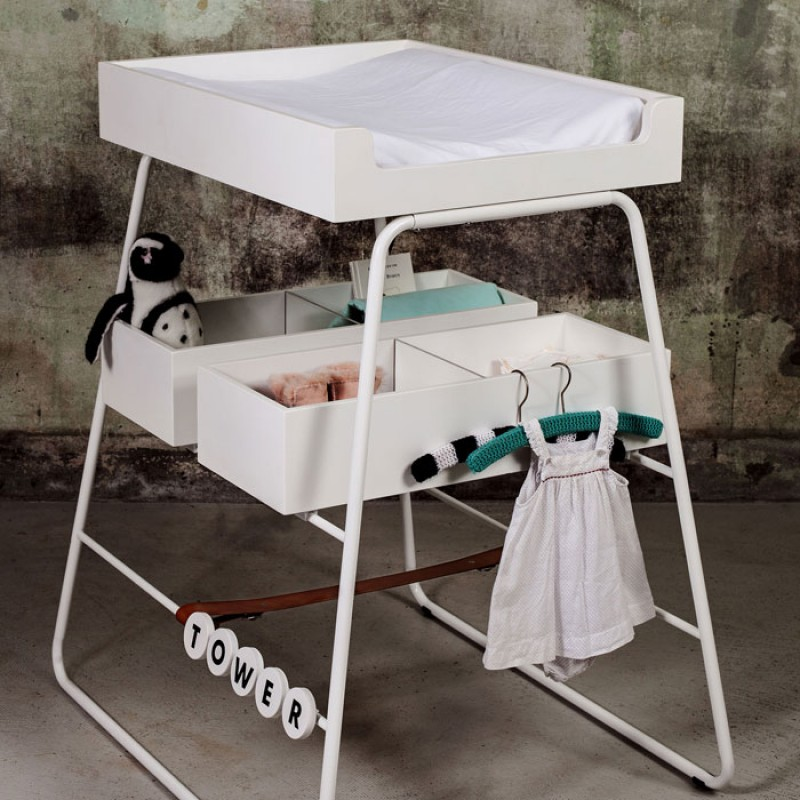 BudtzBendix Tower White Baby Changing Table & Mattress