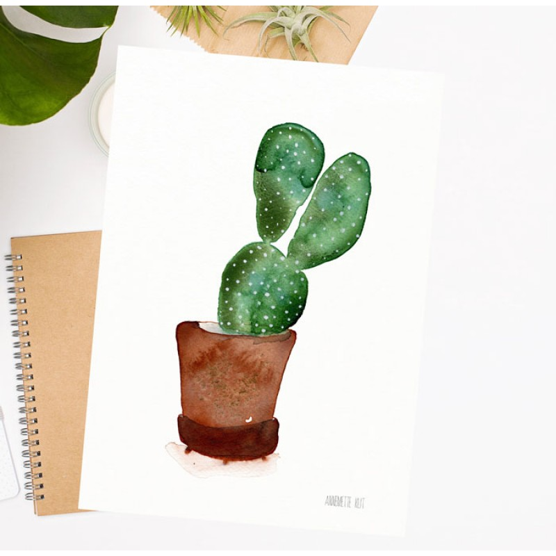 Print Of cactus In Terracotta Pot