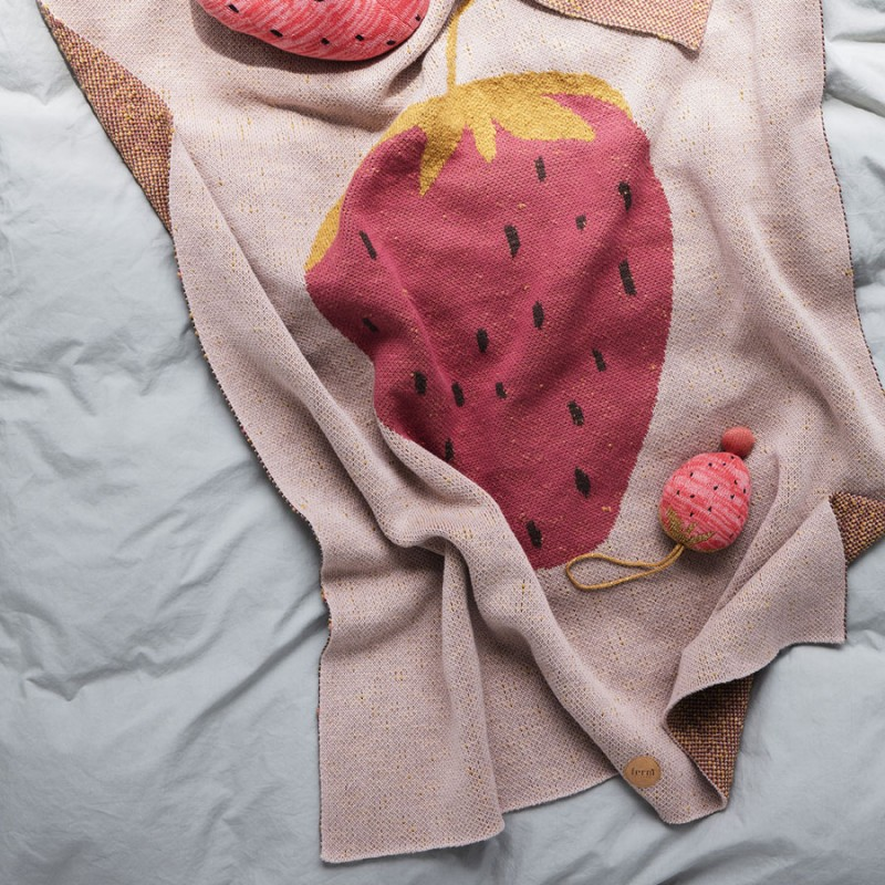 Skandivis Ferm Living Danish Design Strawberry Blanket By Ferm Living