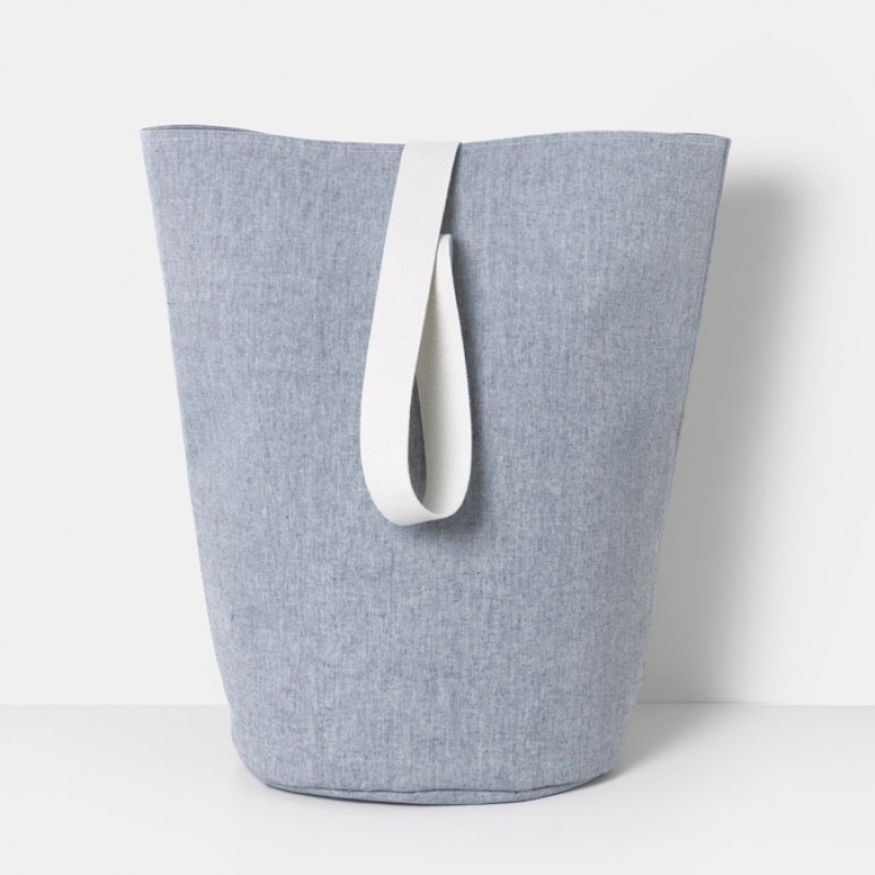 Large Chambray storage basket - blue