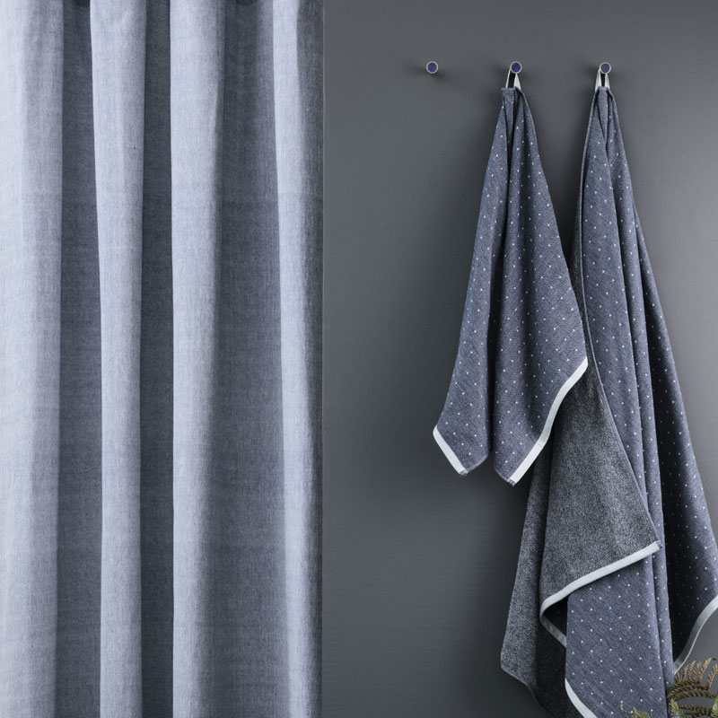 Skandivis Ferm Living Danish Design Blue Chambray Shower Curtain By Ferm Living