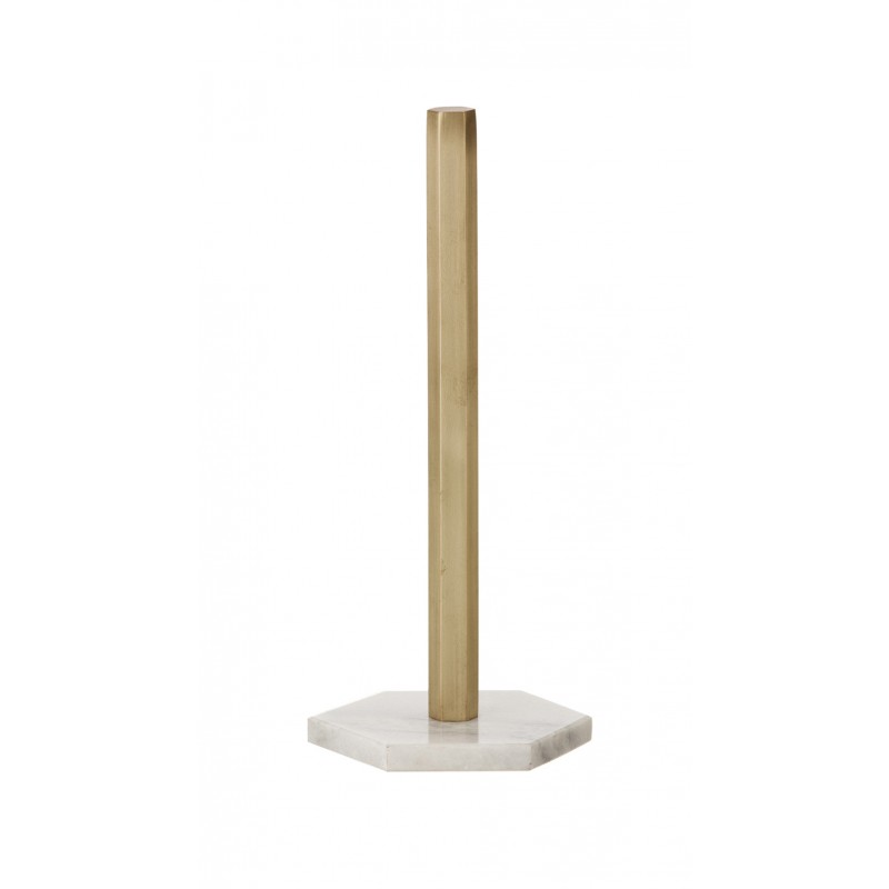 Hexagon Marble and Brass Kitchen Roll Stand