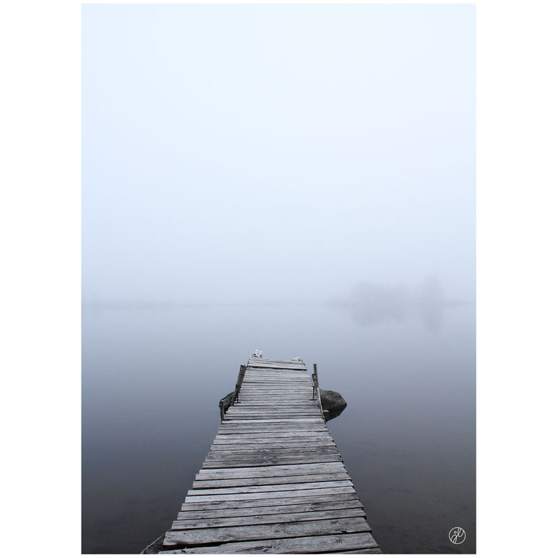 The Pier And The Fog, Blue By Johanna Lehtinen