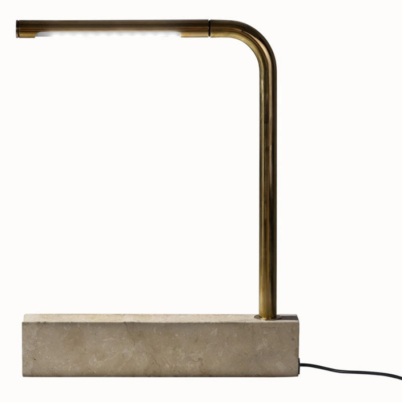 Pipe Lamp In Sandstone And Brass
