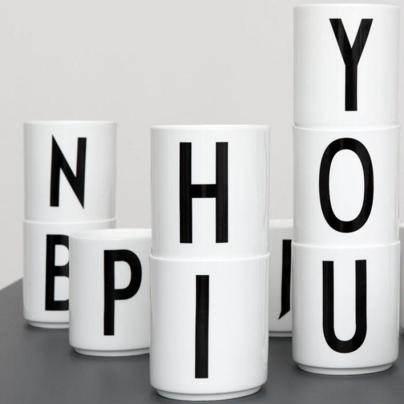 Porcelain cups with typography letters