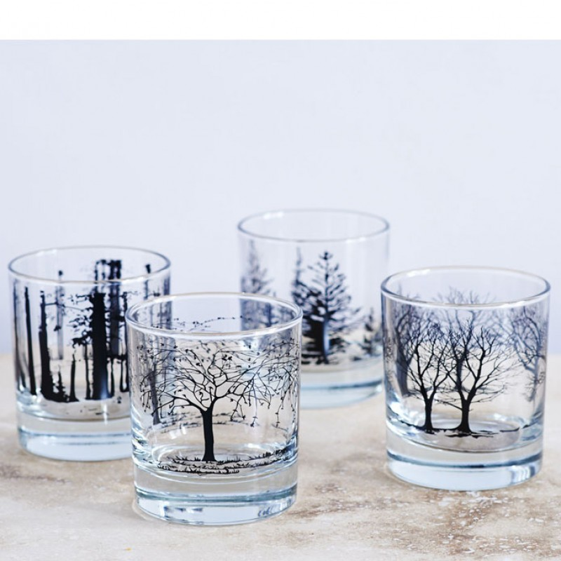 Skandivis Snowden Flood Black Tree Glasses Set