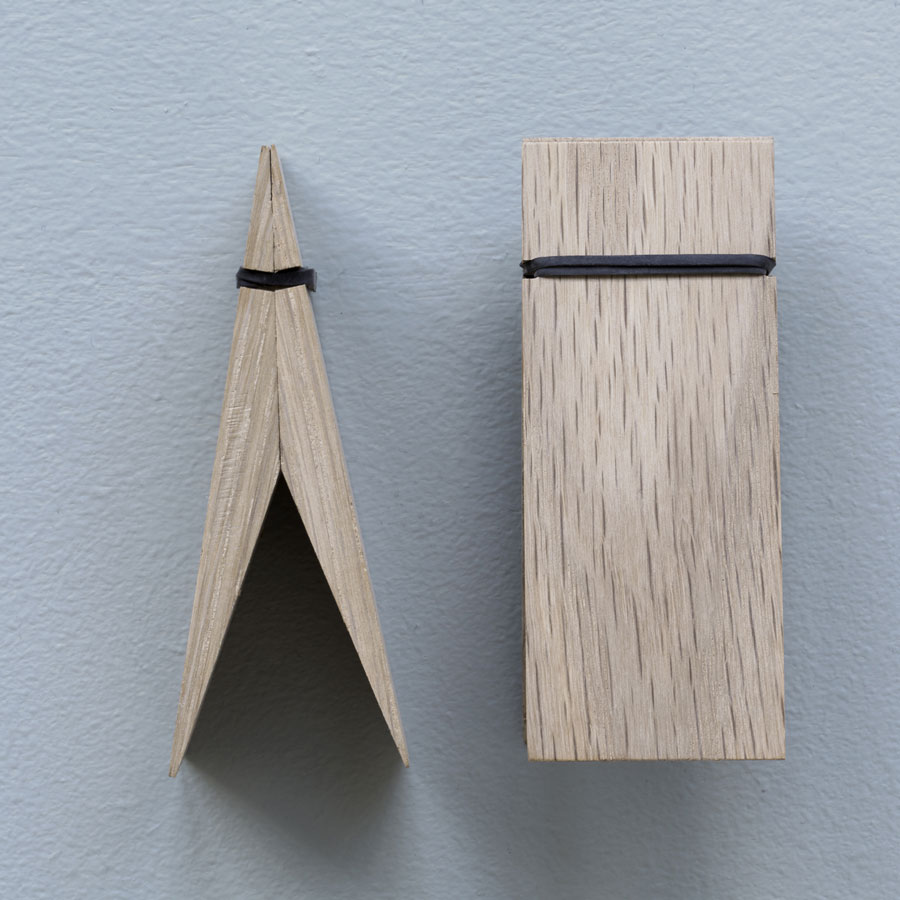 Oak wall clip to hold cards pictures or posters